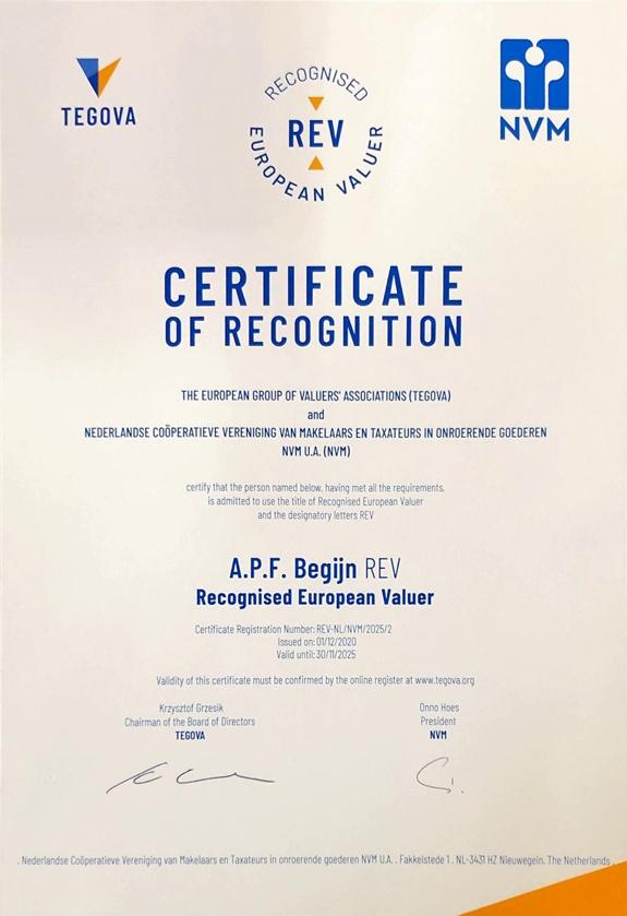 Rev-certificate - Recognised European Valuer
